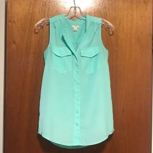 J. Crew sea foam button down tank with pockets